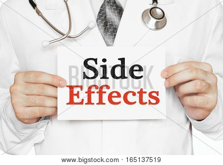 Doctor Holding A Card With Side Effects, Medical Concept