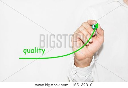 Businessman draw growing graph symbolize growing quality