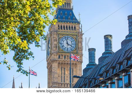 LONDON, UK - SEPTEMBER 10, 2015: Big Ben and Houses of Parliament. View from the River Thames embankment