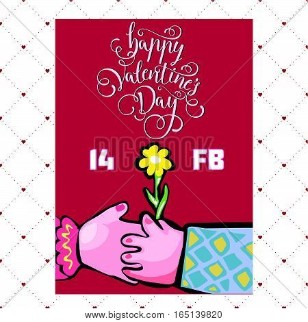 vector illustration of silhouettes of hands of lovers Valentine's day lovers sit at the table lovers holding hands two people in love happy Valentine's day love daisies