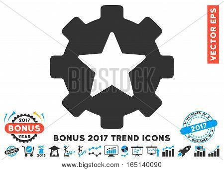 Blue And Gray Star Favorites Options Gear pictogram with bonus 2017 year trend clip art. Vector illustration style is flat iconic bicolor symbols white background.