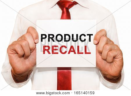 Man Holding A Card With A Text Product Recall