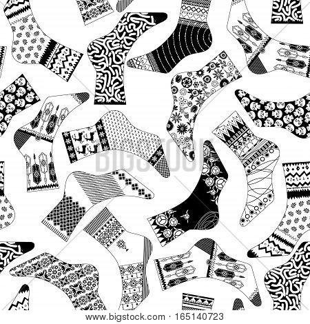 Various decorated socks. Black and white. Seamless background pattern. Vector illustration