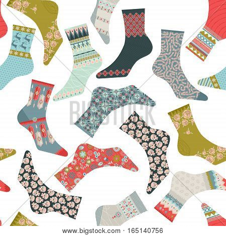 Various decorated multi-colored socks. Seamless background pattern. Vector illustration