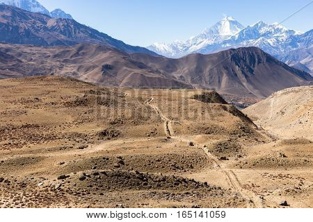 View on the Himalayan Mountains. lower mustang Nepal
