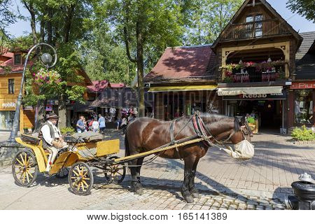 ZAKOPANE POLAND - SEPTEMBER 12 2016: Coachman with his harnessed horse awaits tourists to perform a ride around the city. The rides such carriages with sightseeing are a tourist attraction.