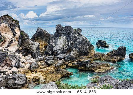 Scenic lava rock formations of Horseshoe Bay in Bermuda.