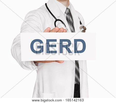 Doctor Holding A Card With Gerd, Medical Concept