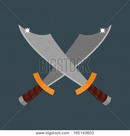 Knife weapon dangerous metallic razor Vector illustration of sword spear edged tool. Combat andbonder bayonet cold protection or attack steel arms.