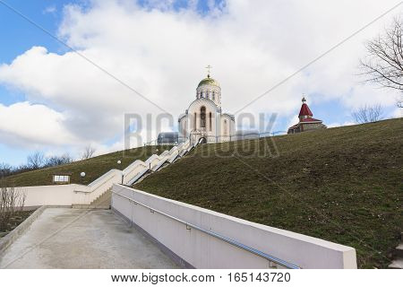 The road to the Orthodox Church of St. great Martyr Varvara the village of Varvarovka Anapa Russia