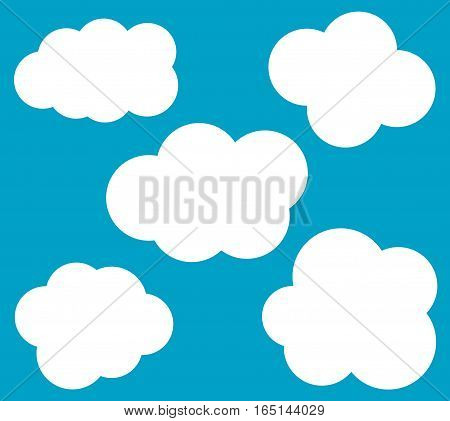 Cloud vector icons set isolated over blue background cartoon vector clouds set