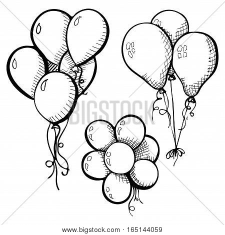 Group of balloons on a string. Hand drawn isolated on a white background. Vector illustration
