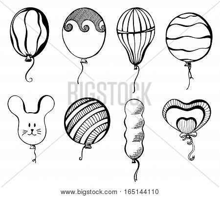 Balls of different shapes. Hand drawn isolated on a white background. Vector illustration.