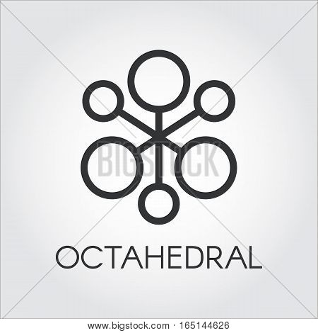 Symbol of chemical compound or octahedral molecule. Black icon. Pixel perfect 48x48 px. Simplicity pictograph. Logo for websites, mobile apps and other design needs. Vector contour label
