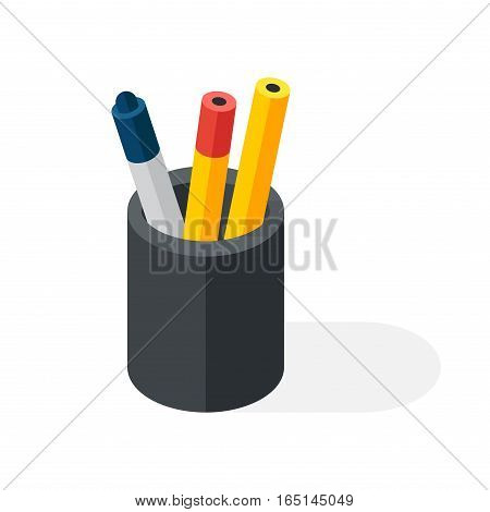 Colored pencil set in a glass box isolated. Flat designer creativity concept vector icon. Education equipment art drawing write business office design package.