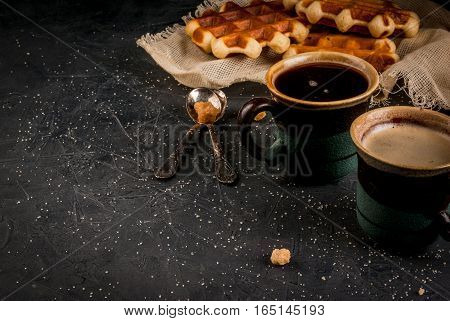 Breakfast With Waffles And Coffee