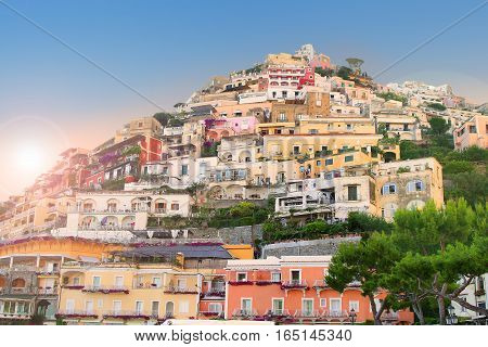 Colorful houses along the steep hillside in the village of Positano Campania Italy on the Amalfi Coast