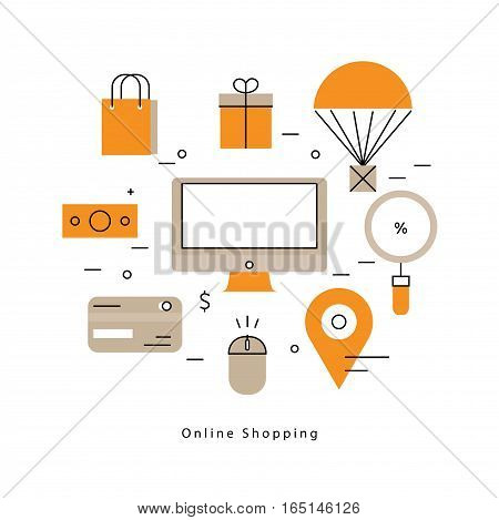 Online shopping and promotions flat line business vector illustration design banner. Concepts for online order and payment, e-commerce, delivery process, purchasing online for mobile and web graphics