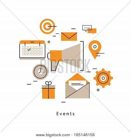 Promotion, planning events, marketing campaigns, calendar, organization flat line business vector illustration design banner. Advertising concept for mobile and web graphics