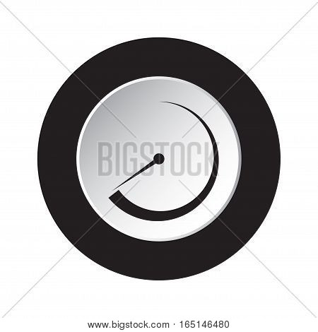 isolated round black and white button with black dial symbol icon