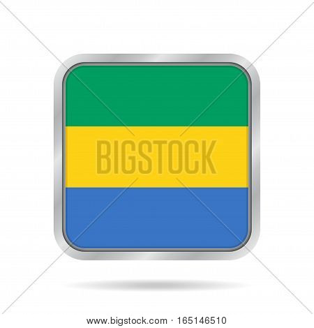 National flag of Gabon. Shiny metallic gray square button with shadow.