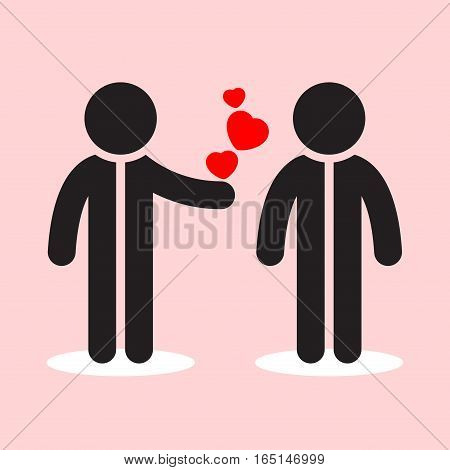 two black styled figures with white round shadows and three red hearts - on the light pink background