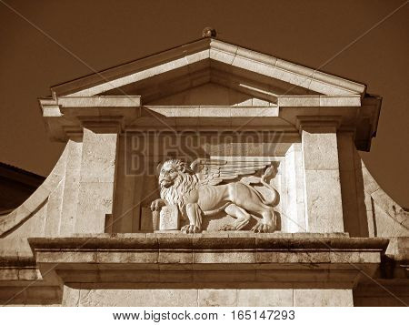 Beautiful Relief of Porta San Giacomo, City Gate of the Upper Town in Bergamo of Italy in Sepia Tone