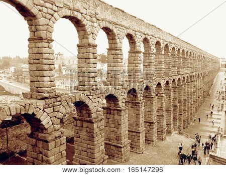 Awesome View of Roman Aqueduct of Segovia, Spain in Sepia Tone, UNESCO World Heritage