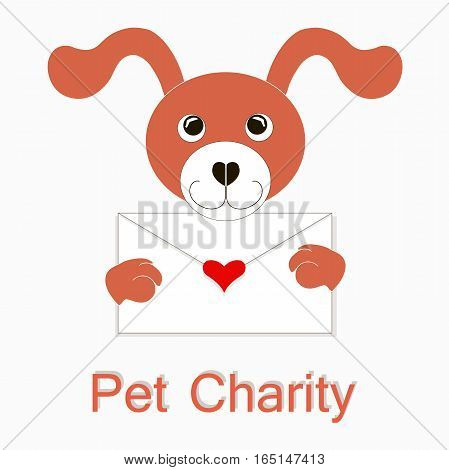 Typography banner Happy Pet Charity, red and white cartoons dog with envelope, red hearts, stock vector illustration