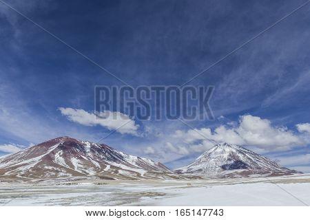 Atacama Desert, Bolivia With Majestic Colored Mountains And Blue Sky In Eduardo Avaroa Andean Fauna