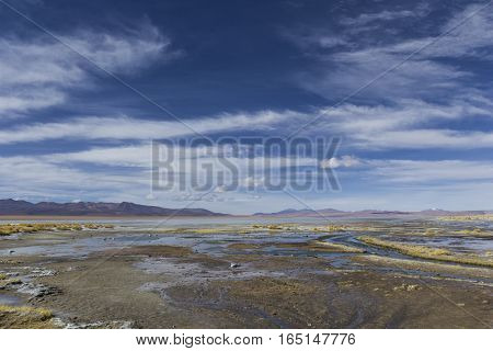 Atacama Desert, Bolivia With Majestic Colored Mountains And Blue Sky In Eduardo Avaroa Andean Fauna