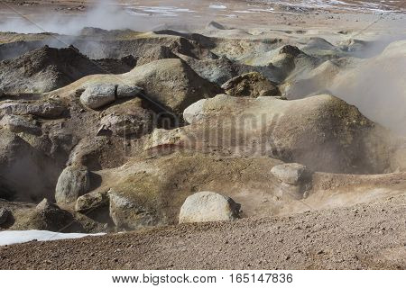 Geyser (geothermal area) Sol de Manana in Eduardo Avaroa National Reserve - Altiplano Bolivia South America poster