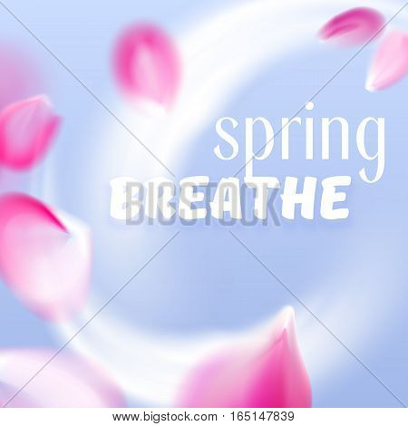 Fresh spring air flow with flying vector pink petals isolated on blue background