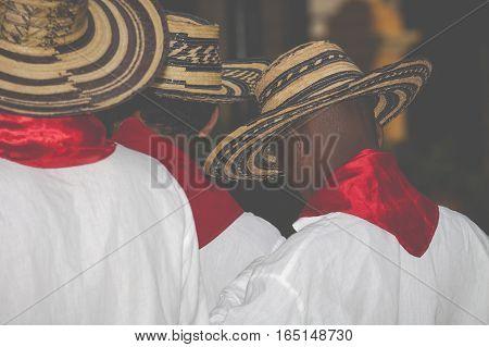 Unidentified Colombian dancers in traditional clothes. Cartagena
