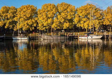 Autumn in the Buitenhaven of Enkhuizen, The Netherlands