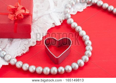Red Gift, White Pearl Necklace, Metal Heart, White Lace Underwear