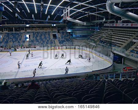 PUBLIC ACCESS EVENT! Chomutov Ustecky kraj Czech republic - January 07 2017: interior of new multipurpose city arena during game of hockey junior team Pirati Chomutov with team BK Mlada Boleslav