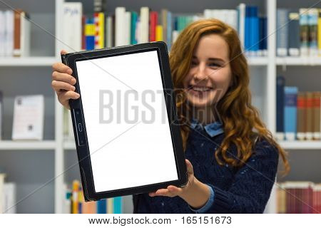 Clever University Student Holding White Isolated Tablet Academic Library Smiling Technology