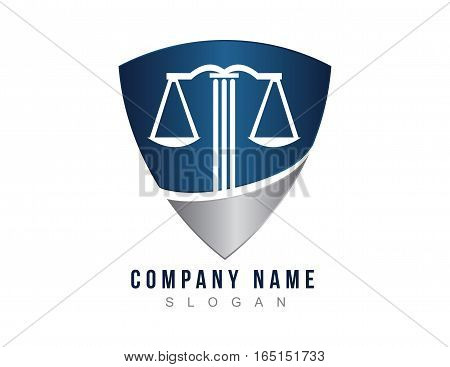 Lawyer shield logo concept on white background