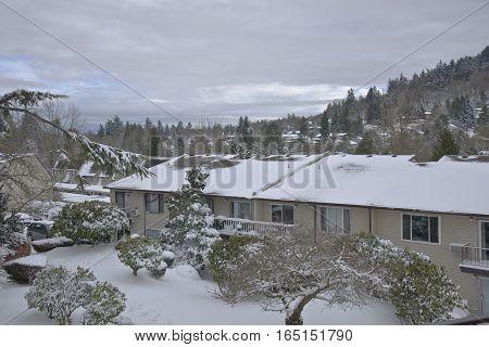 Snow winter storm in a neighborhood Gresham Oregon.