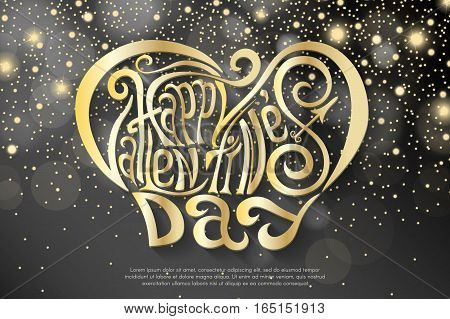 Happy Valentines Day hand drawing lettering design. Golden on abstract shiny yellow and white sparcles and flares background. Vector illustration
