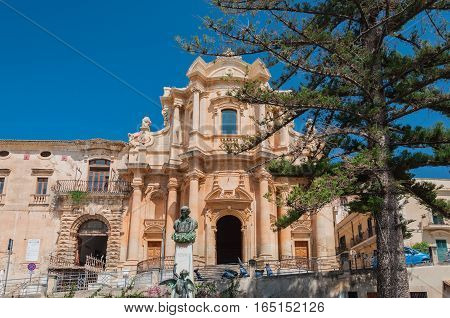 The facade of the church of St. Dominic - a magnificent specimen Sicilian Baroque in Noto Sicily Italy.