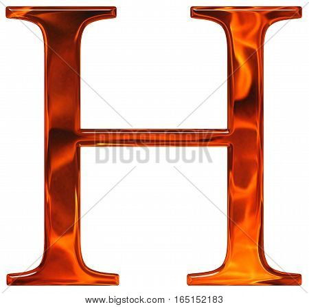 Uppercase Letter H - The Extruded Of Glass With Pattern Flame, Isolated On White Background