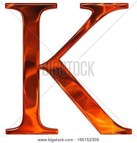 Uppercase Letter K - The Extruded Of Glass With Pattern Flame, Isolated On White Background