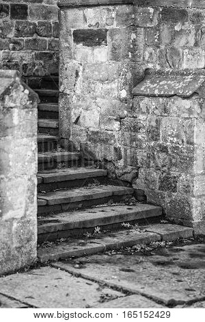 Black And White Detail Image Of Regency Period Design Steps Into Medieval House