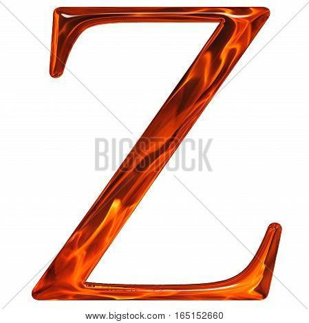 Uppercase Letter Z - The Extruded Of Glass With Pattern Flame, Isolated On White Background