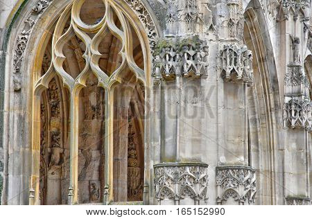 Poissy; France - october 26 2016 : the picturesque collegiate church