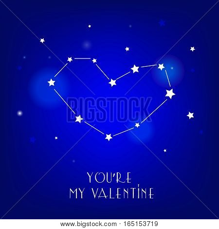 Greeting card You're my valentine with star and constellation. Vector