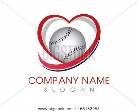 Love baseball logo concept on white background