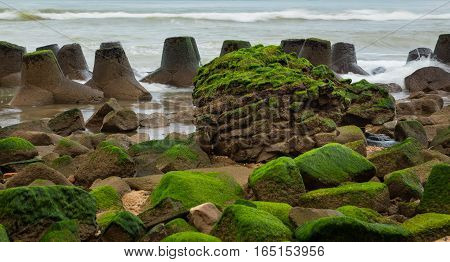 A rocky outcrop coastal defence barrier made of tetrapods and large rocks covered in green moss.